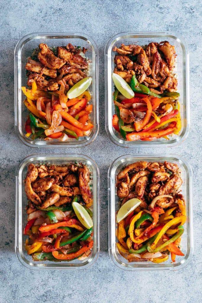 chicken fajita bowl meal prep