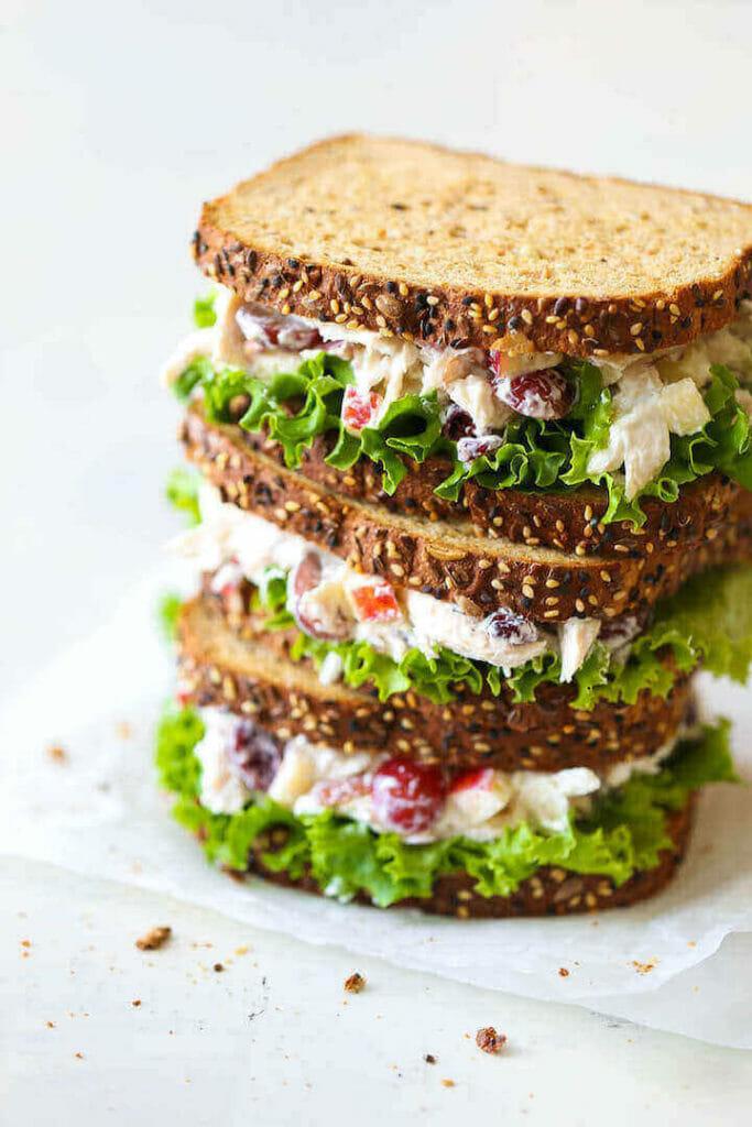 Chicken Salad With Greek Yogurt And Grapes sandwich